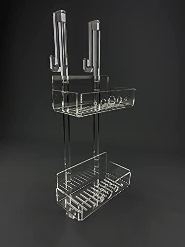 IKONA Porta Shampoo Doccia Da Appendere In Plexiglass struttura sp.15 mm | Mensola Doccia Portasapone Portaoggetti Resistente ed Elegante Made in Italy (H. 65 cm x L. 26 cm x P. 12 cm - Medium)