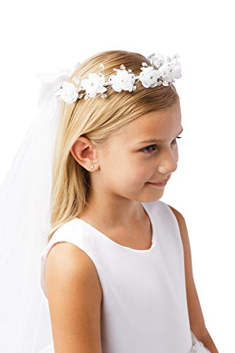 Girls White Pearl Rhinestone Center Floral Crown First Communion Flower Girl Head Wreath with Veil #776