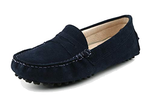 MINITOO Damen Knoten Slip-on Wildleder Freizeit Slipper Mokassins Dunkelblau EU 39