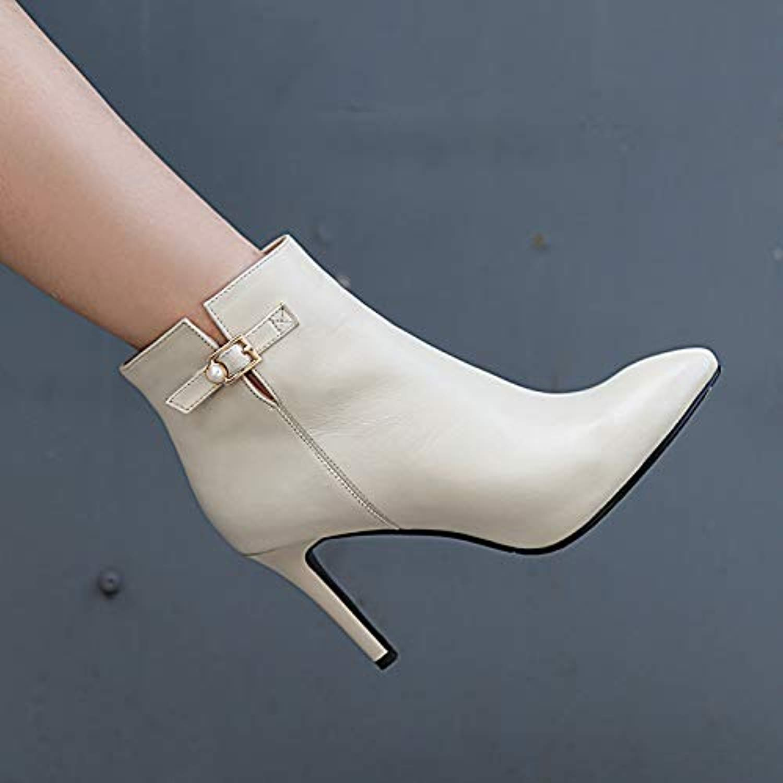 HOESCZS Damenschuhe Herbst Und Winter Lederstiefel Damen Hochhackige Lederstiefel Lederstiefel Spitze Nackte Stiefel Einzel Stiefel Stiletto Damenschuhe  Sparen Sie 50% -75%!