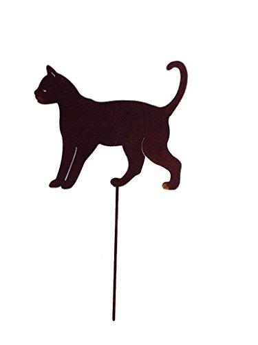 Crispe home & garden Gartenstecker Edelrost - laufende Katze klein - Höhe 18 cm