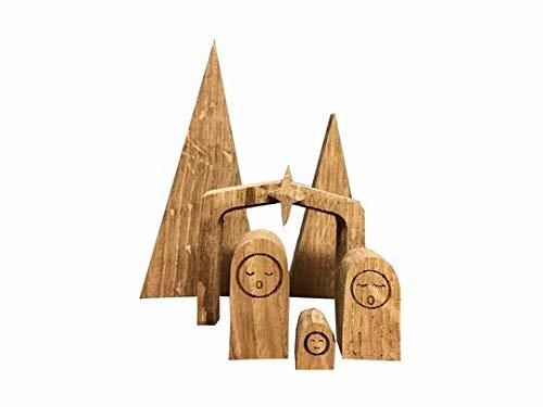 Wmanufacture Weihnachtskrippe Holz Natürlich und modern Weihnachtsdekor aus Eiche Holz, weihnachts dekoration holz