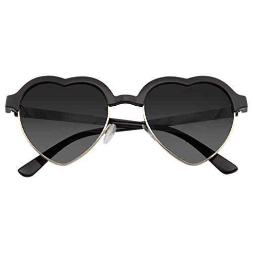 Emblem Eyewear - PunSveglia D'epoca Mezza Montatura Ispirato Occhiali Da Sole Di Forma Cuore (Nero)