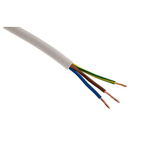 Cable de alimentación eléctrica tipo HO5VV-F con 3 hilos de 2,5 mm,blanco–50m