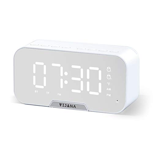 Bluetooth Speaker with Alarm Clock for Bedroom Kids Heavy Sleepers,Loud Dual Alarm Clocks,Portable Wireless with FM Radio,Small Outdoor Bluetooth Speaker Set