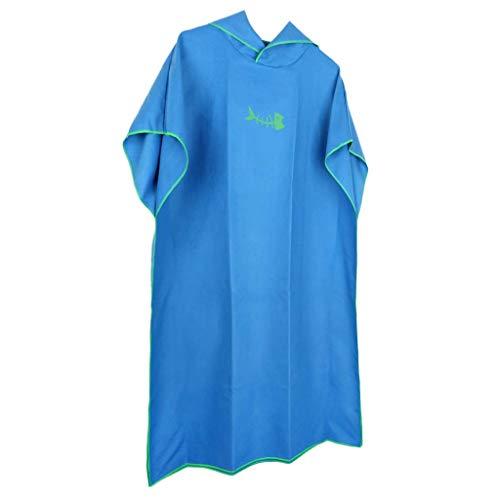 Tenlacum Poncho cambiador de microfibra con capucha, toalla de baño con capucha para playa, natación, deportes acuáticos, talla única (azul)