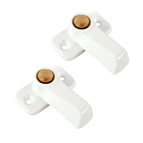 CaraLife 2X Stauklappen Dreh Riegel Weiß Vorreiber 3,5 mm Grundplatte