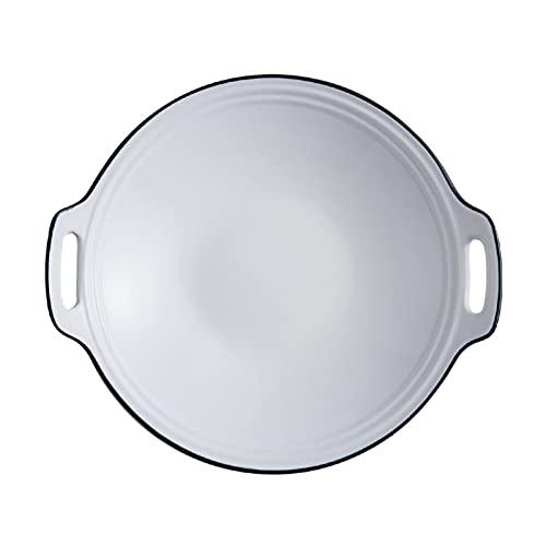 YAOLUU Bandeja para Pizza Panadería de Porcelana Blanca, Plato de Hornear Redondo con Mango Doble, cerámicas PANN para Hornear para Cocina, Cocina, Cena de Pastel Platos para Pizza (Size : M)