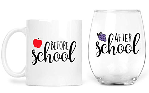 Before School After School Teacher Mug and Teacher Wine Glass Set – Funny Principal Gifts – Coffee Mug and Stemless Wine Glass for Teacher Appreciation and Professor – Because Students