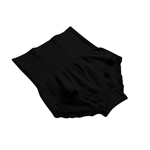 🎉 YSFWL 🎉 Damen Unterhosen Slips Hoher Taille Atmungsaktive Taillenslip Wochenbett Gamaschen Unterwäsche Body Shaper Kleidungsstück Hose Leggings Mit Spitzenrand - Weich Elastisch Leicht (Schwarz)