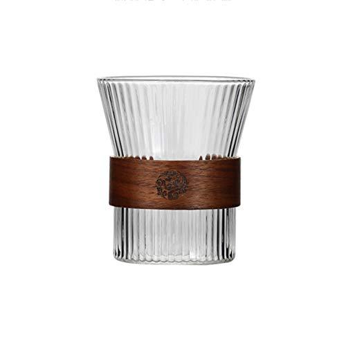 HMYLI Taza De Vidrio-Café con Cubierta De Bambú 10Oz Sin Aislado Café Espresso Café Copa De Vidrio Copa De Capuchino, Tazas De Té, Gafas De Bebidas, Resistente Al Calor,1 Pieces
