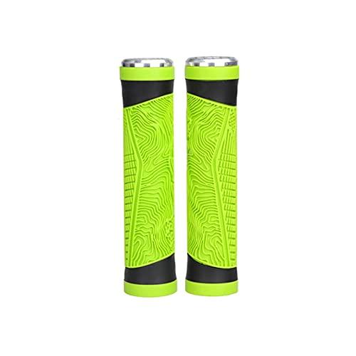 SQATDSBIKE Grip Bicycle Grip Mountain Bike Manubr Grips Cover Gel Silice Gel Antiscivolo Maniglia in Bicicletta Grip con Manubrio Bar End Plug Bike Part (Colore : Verde)