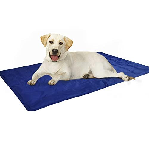 Alfombra Refrescante para Perro,Alfombra de enfriamiento para Mascotas, Cool Pet Mat,Cama Gat Frio Animales Colchon Mascotas para Verano,Mediano/Grande/XL Azul 60x90