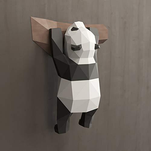 ZHIRCEKE Papel Hecho a Mano DIY Animal 3D Kit de construcción de Montaje en Pared - Papel Iridiscente - Panda Come el bambú Origami Modelo de Papel - Adecuado para Mejorar la relación Padre-Hijo