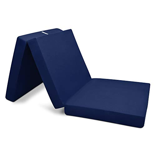 Beautissu Cómodo colchón Plegable Campix 60 x 190 x 7 cm - Ahorra Espacio - con Funda de Microfibra - Azul Marino