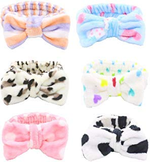 Bow Hair Band, Soft Carol Fleece Hairlace Headband Turban Bowknot Bow Makeup Shower Headbands Headwraps for Washing Face Shower Spa Mask, Multiple Styles, 6PCS