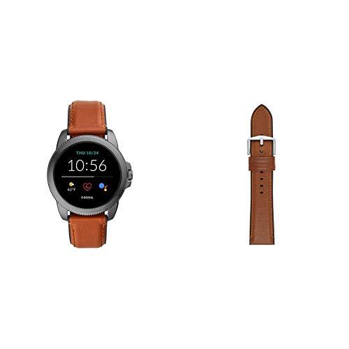 Fossil Connected Smartwatch Gen 5E para Hombre con tecnología Wear OS de Google, frecuencia cardíaca, Cuero Marrón/Silicona Negro + Correa de Piel Marrón Claro y Silicona