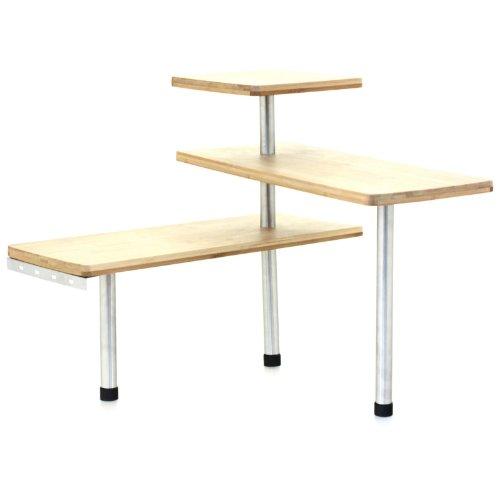 Design Etagère d'angle en bambou et inox - Cuisine - Salle de bain ou sur un bureau - Idéal pour gagner de la place