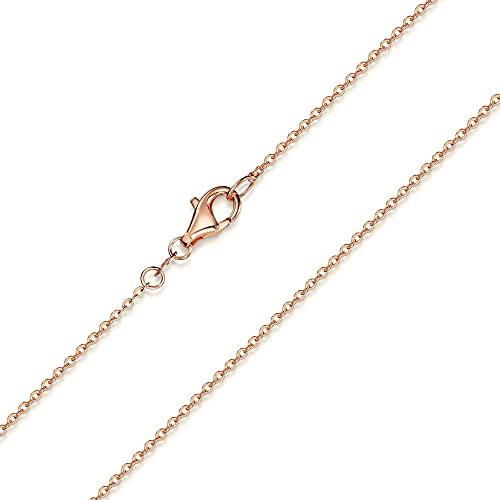 Materia K53 - Catenina (1 mm) in argento Sterling 925 placcato oro rosa, lunghezze disponibili: 30 / 40 / 45 / 50 / 60 / 70 / 80 cm, argento, cod. #K53