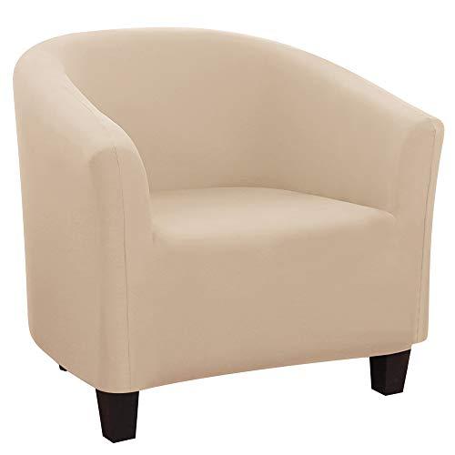 NIBESSER Sesselhusse Stretch Cocktailsessel Hussen Sesselschoner Couch Überwurf Sesselbezug Sesselüberwurf elastisch Sessel Überzug für Cafe Loungesessel(Beige)
