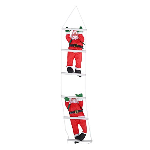 FTVOGUE dubbele ladder Kerstman klimmen Kerstman Toy Christmas Tree Indoor/buiten hangende versiering decoratie