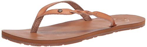 Roxy Women's Liza Flip Flop Sandal, Tan/Brown 20, 9 M US