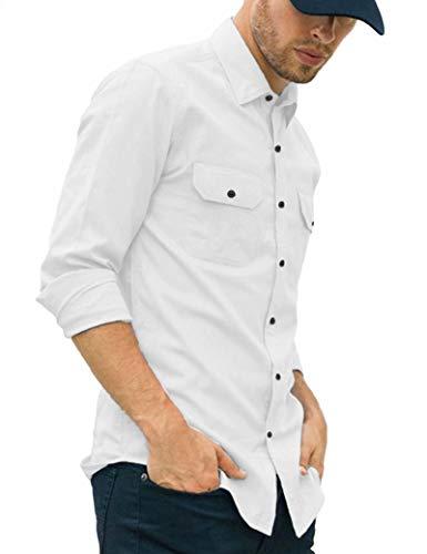 LecGee Men's Original Fit Long Sleeve Shirt 2 Chest Flap Pocket Cotton Tops Button Down White