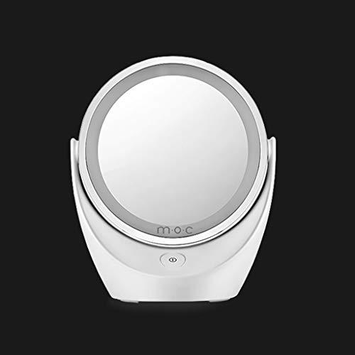 Qivor LED Beauty Mirror Desktop Espejo Giratorio de Doble Cara de 13 * 13 cm Blanco