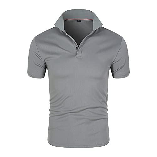 N\P Polo de manga corta de verano camisa de los hombres casual slim color sólido polo