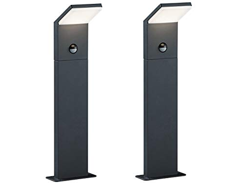 2er SET moderne LED Wegeleuchte aus wetterfestem ALU inkl. Bewegungsmelder, Anthrazit, IP54, Höhe 50 cm