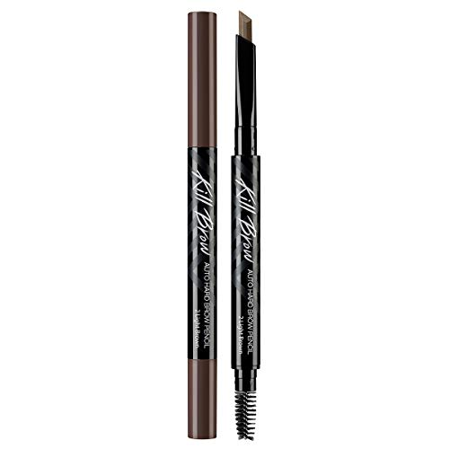 CLIO Kill Brow Auto Hard Eyebrow Pencil | Dual-End, Brow Filler, Long Lasting, Waterproof, Smudge-Resistant, Spoolie Brush, Sharpener, Fills and Thickens Brows | Light Brown (#02)