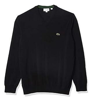 Lacoste Men s Long Sleeve V Neck Cotton Jersey Sweater Black L