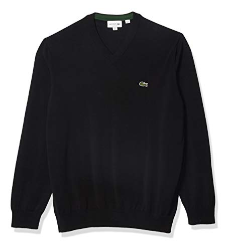 Lacoste Jersey de algodón de Manga Larga con Cuello en V para Hombre, Negro, X-Large