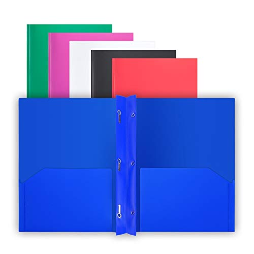 Comix Plastic 2-Pocket Folder with 3-Prong Letter Size Poly Folders with Brads File Portfolio Two Pockets Folders with Fasteners for Office School Folder (6 Assorted Primary Colors)