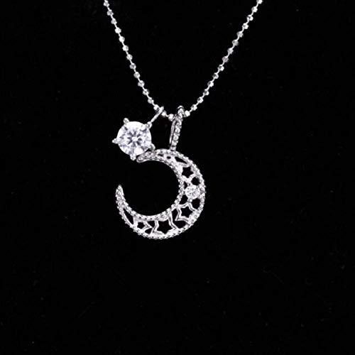 ZGYFJCH Co.,ltd Collar joyería Exquisita Estrella Hueca Luna Cristal Temperamento Cadena de clavícula Colgante Collar Moda