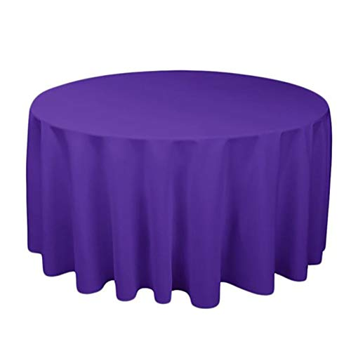 Rlmobes Manteles redondos de tela, resistentes al agua, a prueba de derrames, lavables para comedor, cocina, boda, fiesta, violeta, diámetro de 140 cm