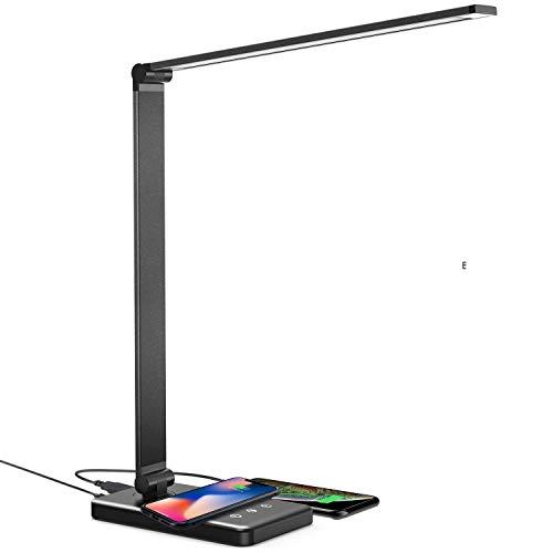 Schreibtischlampe LED 5 Farb und 10 Helligkeitsstufen Beleuchtungsmodi Wireless Charging oder USB Charging für Smartphone Tischlampe Dimmbar Faltbarem