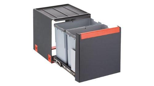 FRANKE Sorter Cube 40 Abfallsorter Abfalleimer Mülleimer Abfallsammler, schwarz, 34,8 x 33,5 x 40,7 cm