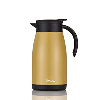 Mr Chef Stainless Steel Thermal Coffee Carafe Double Walled Vacuum Flask 24 Hour Heat Retention 1 Liter 34Oz Tea Water and Coffee Dispenser Gold