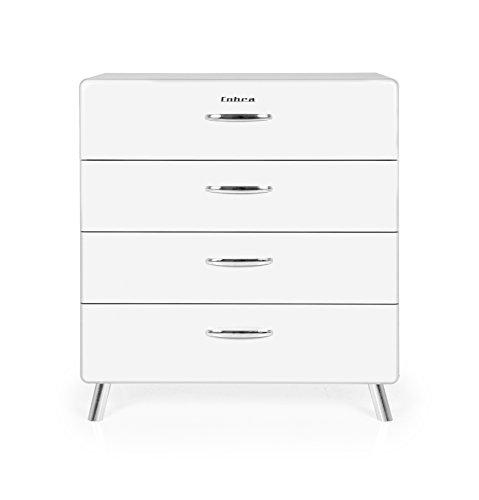 Tenzo COBRA Designer Commode 4 tiroirs, Acier, Blanc, 86x43x92 cm