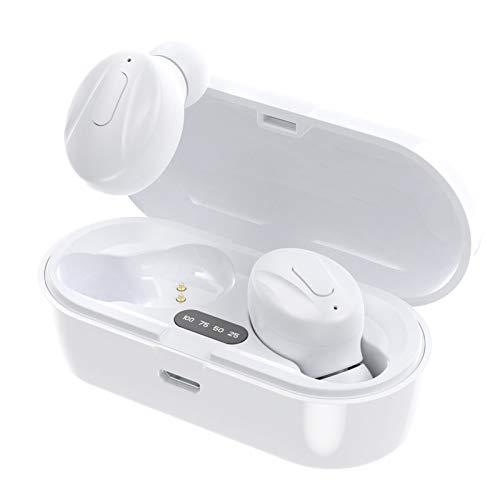 Auriculares Deportivos Auriculares Inalambricos Running Cascos Bluetooth 5.0 In-Ear, Correr con Micrófono, 300mah Caja de Carga, Cancelación de Ruido Gimnasio,Viajes,Deporte,Blanco