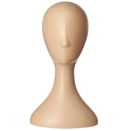 Hearsbeauty Tête de mannequin en plastique pour femme avec long cou, support pour présentation de cheveux, colliers
