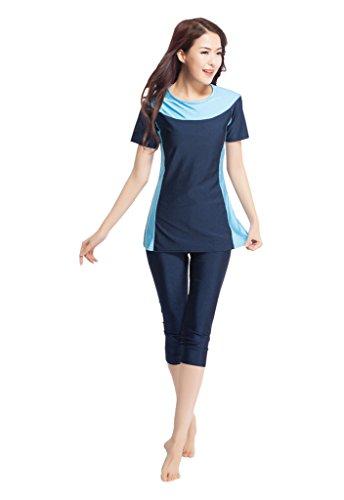 GladThink Frauen-muslimischen 2-Stück-Badeanzug moslemische Dame Swimwear Navyblau 2XL