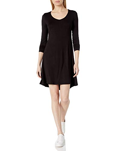 Amazon Brand - Daily Ritual Women's Jersey Long-Sleeve V-Neck Dress, Black, Medium