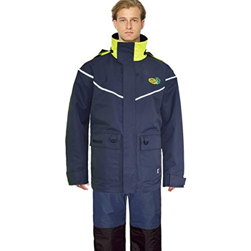 Navis Marine Sailing Jacket with Bib Pants for Men Women Waterproof Breathable Rain Suit Fishing Foul Weather Gear (Dark Blue, Medium)