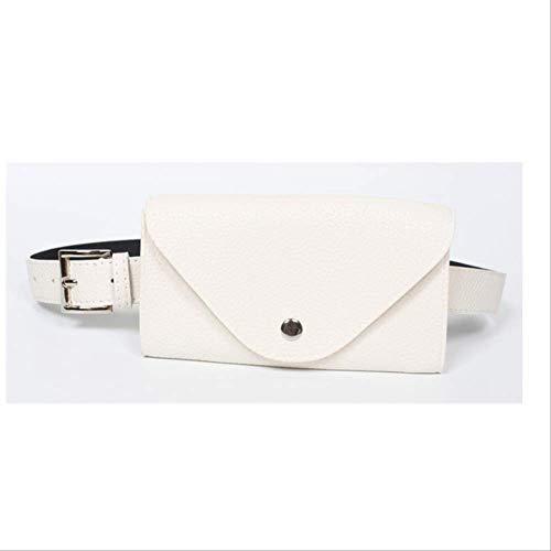 VFJLR Nuevo Riñonera PU Riñonera de Cuero Cinturón Femal Bolsa de teléfono Pequeño Paquete de Cofre Bolsas Cinturón de Mujer Vintage Bolsas de MensajeroBolso de Cintura Blanco