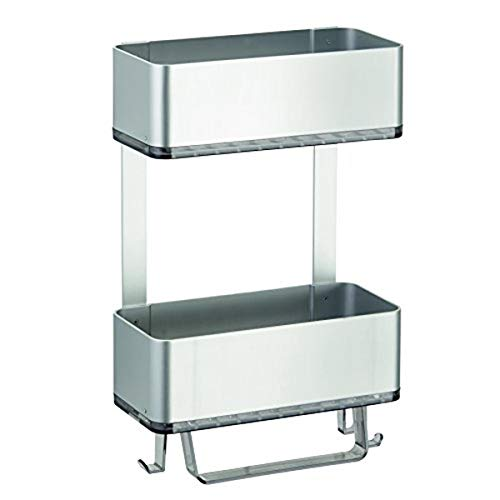 Price comparison product image iDesign Peel-and-Stick Strong Self-Adhesive Rustproof Aluminum Shower Caddy,  Silver / Smoke