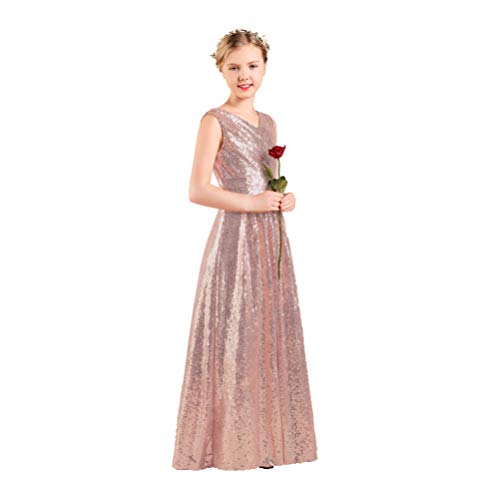 Long Junior Bridesmaid Dress Sequin Flower Girl Dress Rose Gold Formal Wedding Party Pageant Maxi Dress Dance Ball Gown 14t