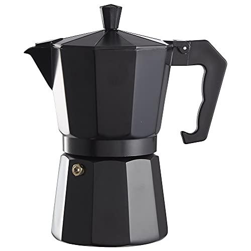 Clásica Cafetera Italiana de aluminio, capacidad 6 tazas, apta para todo tipo de cocinas salvo inducción   Medidas 16.5 x 10 cm H. 19.5 cm, Color Negro Mate