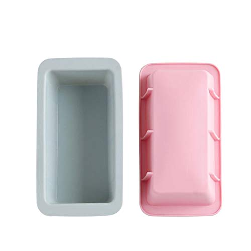 YARNOW Cook Mold 2pcs DIY Rectangular Cake Mold Pan Silicone Baking Mold Toast Mold Cake Sandwich Box for Mousse Cake Bread (Blue + Pink) Picture 1